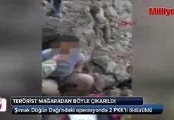 PKKlı terörist mağaradan böyle çıkarıldı