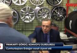 Erdoğan pankartı gördü konvoyu durdurdu