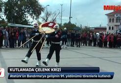 Kutlamada çelenk krizi CHPli Başkan kaldırttı