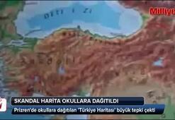 Prizrende okullara dağıtılan Türkiye Haritası büyük tepki çekti