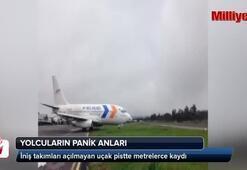 İniş takımları açılmayan uçak pistte metrelerce kaydı