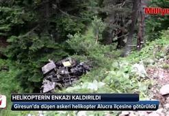 Helikopterin enkazı kaldırıldı