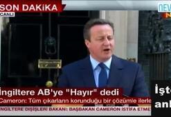 Cameron canlı yayında istifa kararını açıkladı