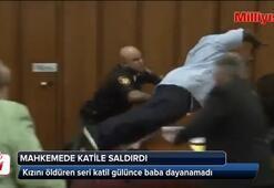 Kızını öldüren seri katil mahkemede gülünce üstüne atladı