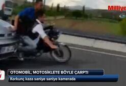 Otomobil motosikletli gençlere böyle çarptı