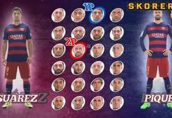 Luis Suarez ve Pique kale arkasından yarıştı