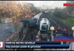 İzmirde metro vagonu devrildi