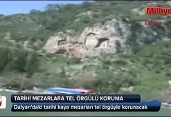 Tarihi kaya mezarları tel örgüyle korunacak