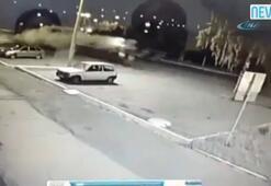 Motosiklet havada metrelerce takla attı