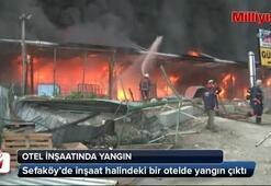 Sefaköyde otel inşaatında yangın
