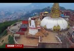 Depremle sarsılan Katmandudan İHAyla çekilen görüntüler