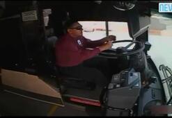 Otobüs şoförü camdan fırladı