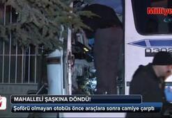 Şoförü olmayan otobüs önce araçlara sonra camiye çarptı