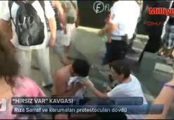 Rıza Sarraf ve korumaları protestocuları dövdü