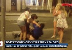 Dört kız öğrenci evsiz bir adama saldırdı