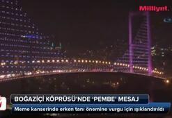 Boğaziçi Köprüsüne pembe mesaj