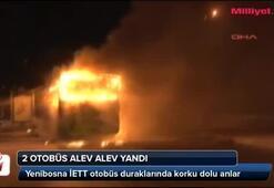 2 halk otobüsü alev alev yandı
