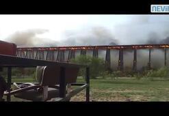 Tren yolu kibrit çöpü gibi yandı