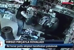 Hırsızı fırçayla kovaladı