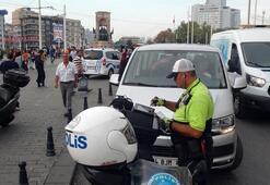 Taksim'de kurallara uymayan sürücülere ceza yağdı