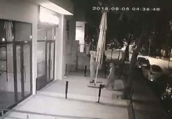 Dev şemsiyeyi halterci gibi kaldırıp çalan kadın hırsızlar kamerada