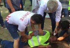 Birden beton zemine düştü Bakın kim müdahale etti...