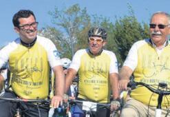 Başkanlar, turda beş kilometre pedal bastı