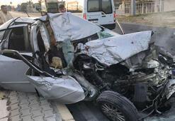Otomobilin çarptığı temizlik işçisinin bacağı koptu