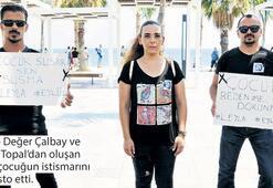 İstismar protestosu sırasında çocuğa taciz