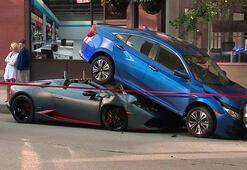 Lamborghini Huracan Spyder, Honda Civicin altına girdi