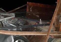 Korku filmi gibi kaza Traktörden fırlayan demir parçası minibüsün içine girdi