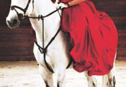 At üstünde haute couture defilesi