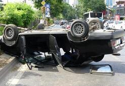 Beşiktaşta trafik kazası; otomobil takla attı