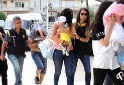 Alanyada fuhuş operasyonu Kucağında bebekle...