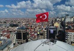 Ana kubbesi kapatılan Taksim Camii havadan görüntülendi
