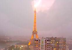 Eiffel Kulesine yıldırım çarptı