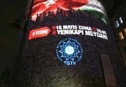 Kudüs mitinginin afişi Galata Kulesine yansıtıldı