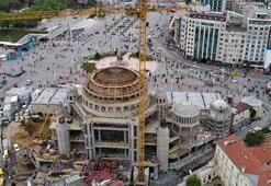 Taksim Camii inşaatında gelinen nokta havadan görüntülendi