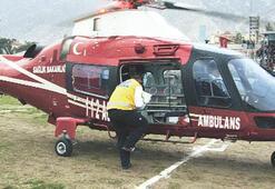 Ambulans helikopter stattan bebek aldı