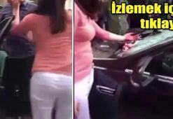 Aldatılan kadın elleriyle arabayı parçaladı