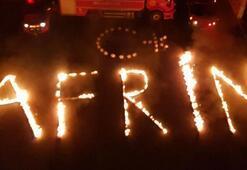 İtfaiyeciler alevlerle Afrin yazdı