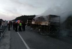 Çorum Osmancıkta yolcu otobüsü TIRa çarptı Çok sayıda ölü ve yaralı var