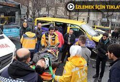 Unkapanında dolmuşla otobüs çarpıştı: Yaralılar var