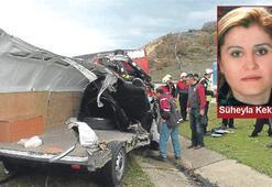 Kazada parçalanan kamyonetten sağ çıkamadı