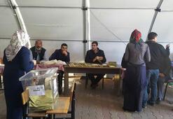 Depremzedeler çadırlarda oy kullandı