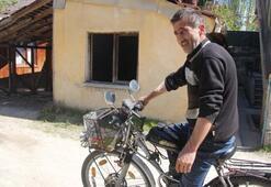 Bisikletini motor yaptı
