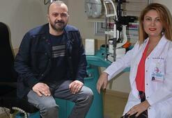 Gazeteci Zafer Yalçın Feyzioğlunun gözündeki tel 35 yıl sonra çıkartıldı