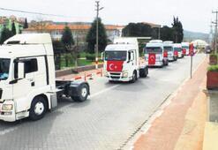 Mehmetçik için 150 araçlık konvoy
