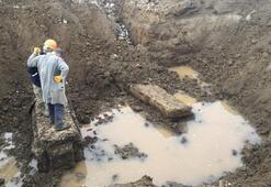 Kanal açarken Roma dönemine ait lahit ortaya çıktı