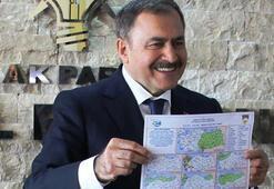 Bakan Eroğlu haritayı gösterdi Bıyıklarımı kesersem bilin ki...